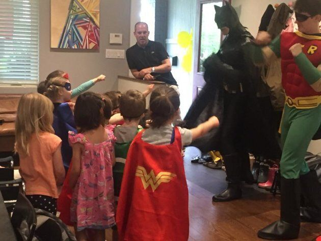 "Milo's fourth birthday party with his ""girlfriends"", Batman and Robin"