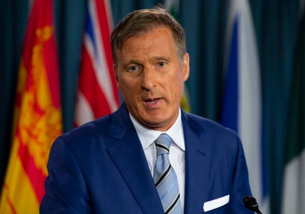 Maxime Bernier announces he will leave the Conservative party during a news conference in Ottawa on Aug. 23, 2018.