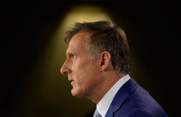 Maxime Bernier announces he will leave the Conservative party during a news conference in Ottawa Aug....