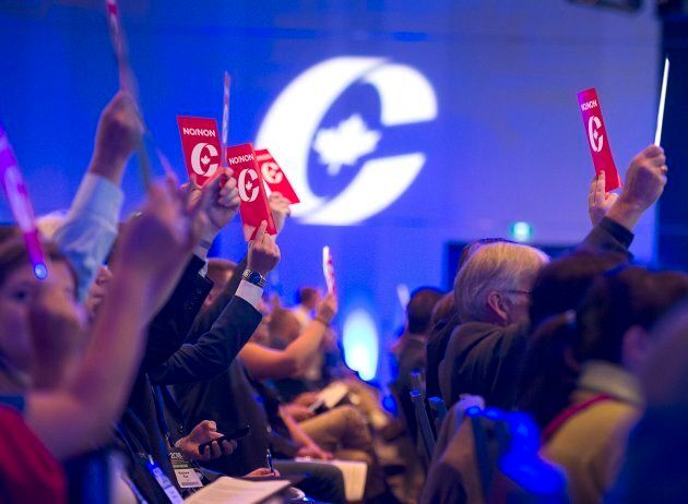 Delegates vote on party constitution items at the Conservative Party of Canada national policy convention...