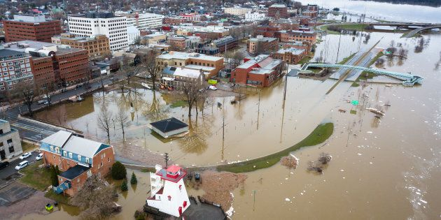 An aerial view of flooding in Fredericton, N.B., in the spring of 2018. The Saint John River is forecast...