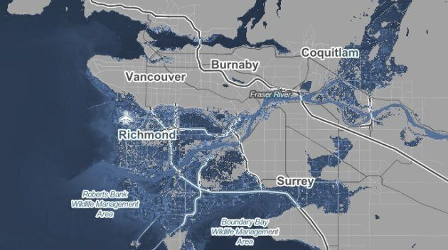 The screencap from Climate Central's website shows the extent of coastal flooding that Greater Vancouver could experience with a one-degree temperature rise.