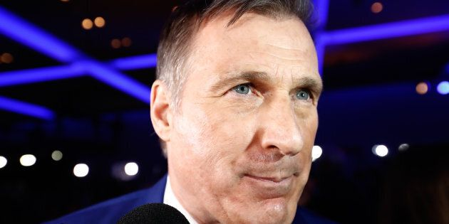 Maxime Bernier speaks to reporters during the Conservative Party of Canada leadership convention in Toronto...