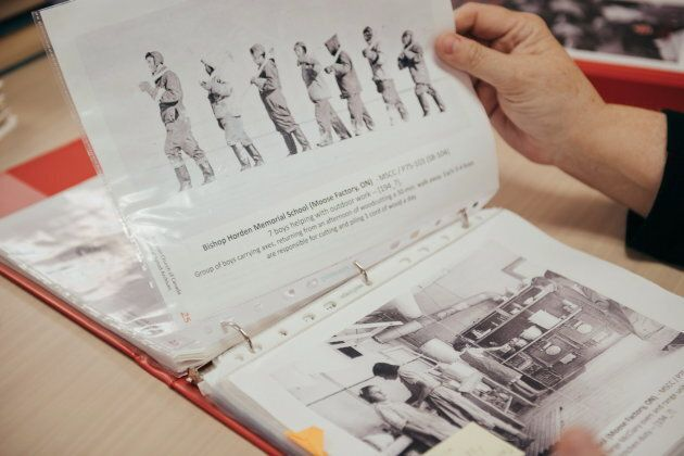 Hurn studies binders of information about Anglican residential schools.