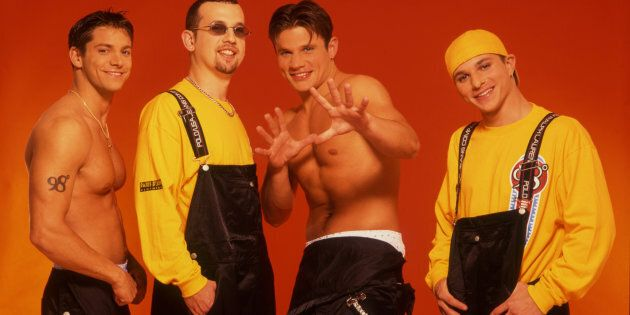 The members of 98 Degrees, are pictured circa 2000: Jeff Timmons, Justin Jeffre, Nick Lachey, Drew