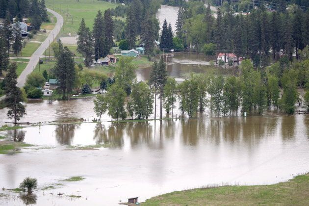 Flood waters from Kettle River are shown flowing into Rock Creek, B.C., on May 17,