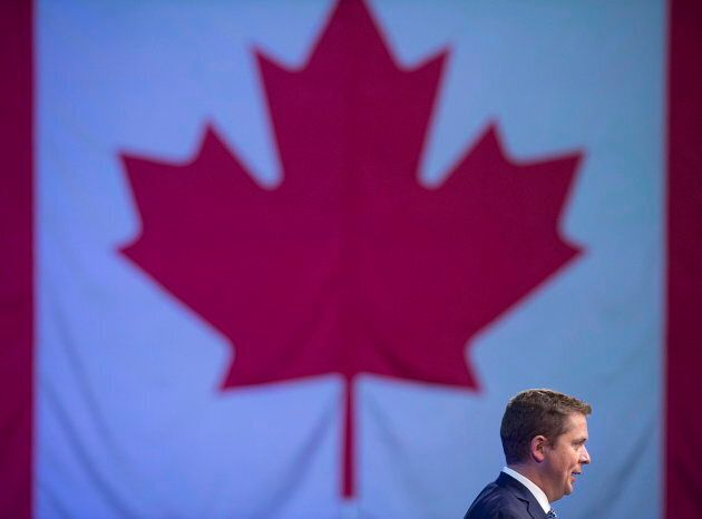 Conservative Leader Andrew Scheer delivers remarks at the party's national policy convention in Halifax on Aug. 24, 2018.