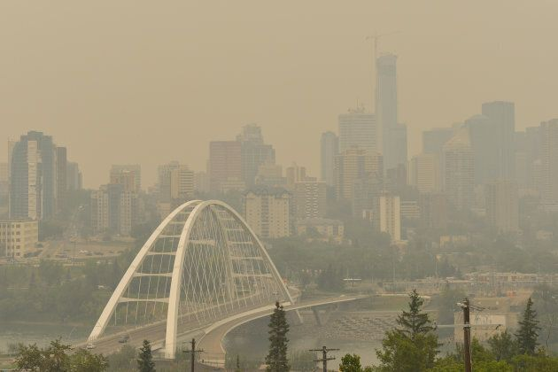 A view of Edmonton's city centre on Aug. 22, 2018, as smoke from the B.C. wildfires makes again its way...