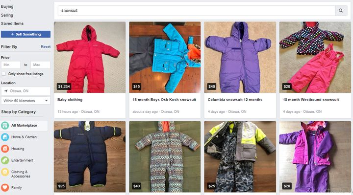 People selling used snowsuits on Facebook Marketplace in August.