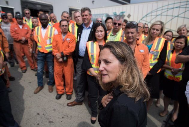 Minister of Foreign Affairs Chrystia Freeland addresses workers in Richmond, B.C., on August 24, 2018....