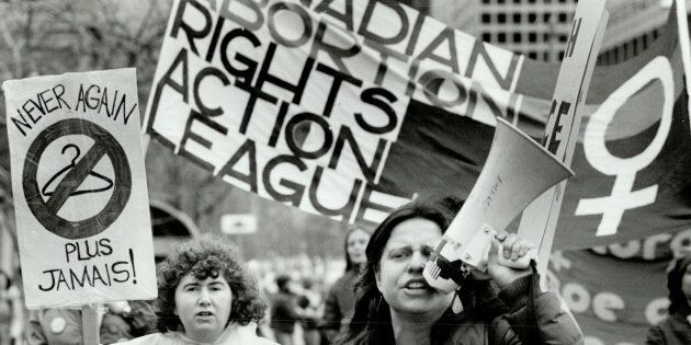 A pro-choice marcher in Toronto's Queen's Park in the 1970s.