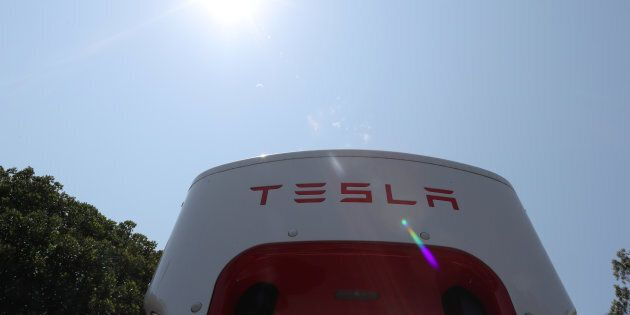 A Tesla electric car supercharger station is seen in Los Angeles, California, U.S. August 2, 2018. REUTERS/Lucy