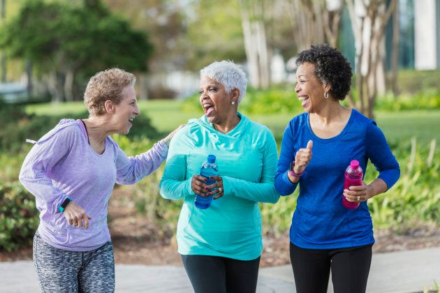 Folks who exercise together, are happy