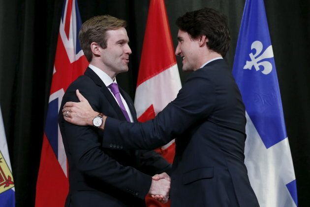Prime Minister Justin Trudeau greets New Brunswick Premier Brian Gallant during the First Ministers'...