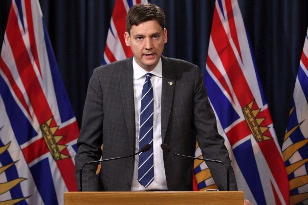 Attorney General David Eby speaks during a press conference in Victoria, B.C., on April 26, 2018. The...