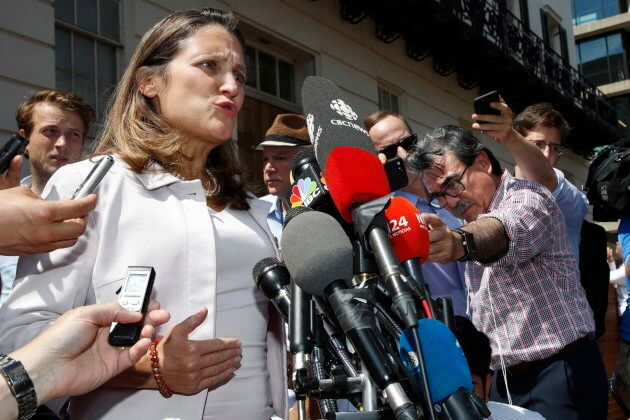 Foreign Affairs Minister Chrystia Freeland speaks to the media as she comments during a break in trade talks at the Office of the U.S. Trade Representative, Thurs. Aug. 30.