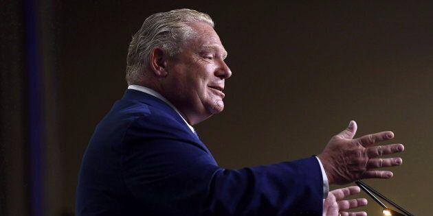 Ontario Premier Doug Ford speaks in Ottawa on Aug. 20,