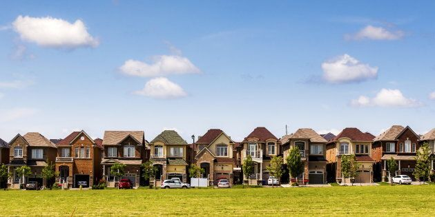 Houses in a neighbourhood in Vaughan, north of Toronto, June 29, 2015. More than a quarter of properties...
