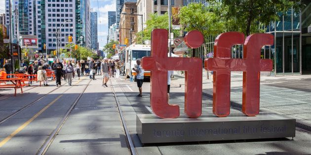 A TIFF sign on King Street during the Toronto International Film