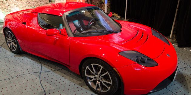 A Tesla car is seen during the Canadian International Auto Show in