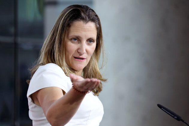 Canadian Foreign Minister Chrystia Freeland at a news conference at the Embassy of Canada in Washington,...