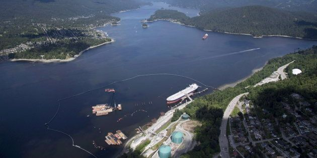 An aerial view of Kinder Morgan's Trans Mountain marine terminal, in Burnaby, B.C., is shown on May 29,
