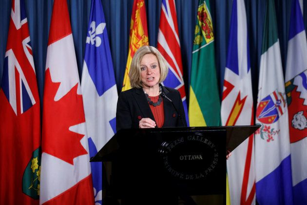 Rachel Notley speaks during a news conference in April.