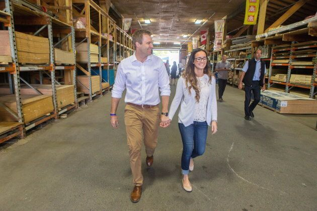 Liberal Leader Brian Gallant and wife Karine Lavoie at a campaign stop in Oromocto, New Brunswick on...