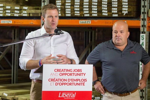 New Brunswick Liberal Leader Brian Gallant speaks at a campaign stop in Oromocto, New Brunswick on Sept....