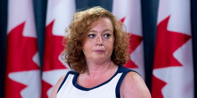 Lisa MacLeod, Ontario's Minister of Children, Community and Social Services speaks with the media in...