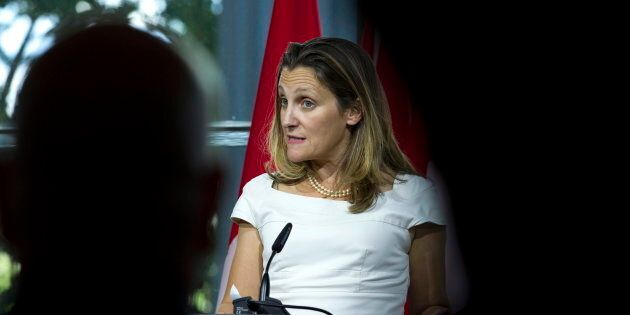 Foreign Affairs Minister Chrystia Freeland speaks in Washington on Aug. 31,