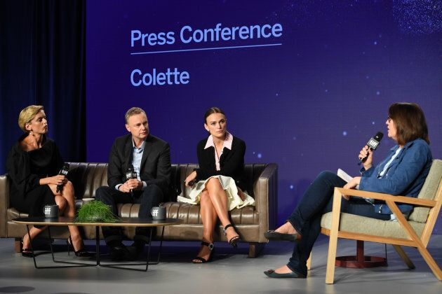 Denise Gough, Keira Knightley and Wash Westmoreland attend a press conference for 'Colette' Press Conference...