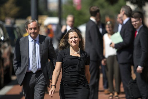 Chrystia Freeland, Canada's minister of foreign affairs, arrives at the U.S. Trade Representative office...