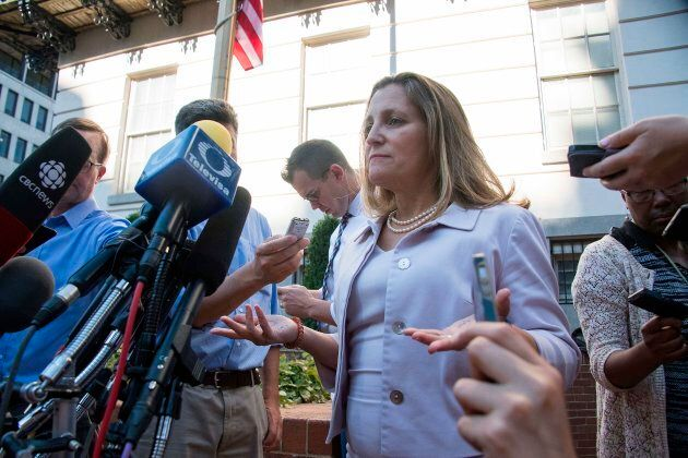 Canadian Foreign Affairs Minister Chrystia Freeland speaks prior to her meeting with U.S. Trade Representative Robert Lighthizer in Washington, D.C., on Aug. 30, 2018.