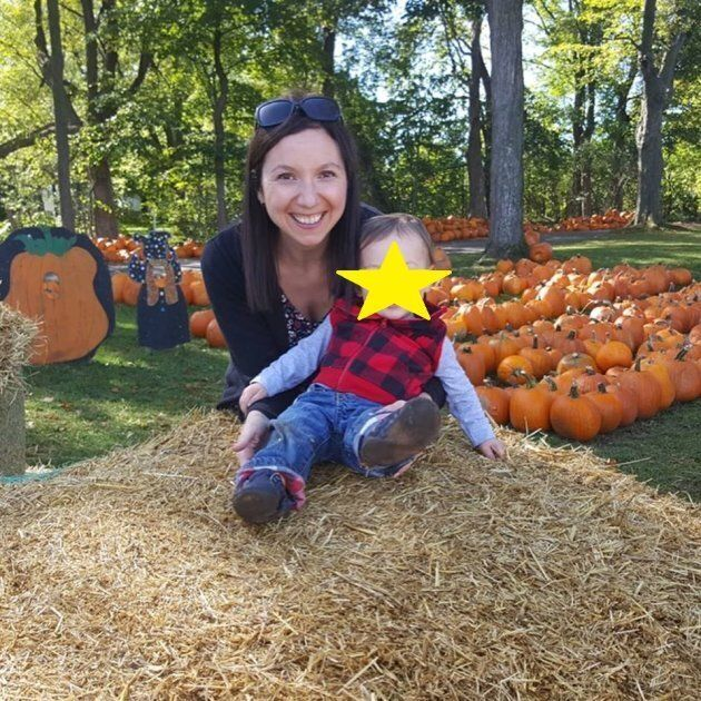 The author and her son posing on a hay bale last fall. She posted this one to Facebook AND Instagram, because hay bales.