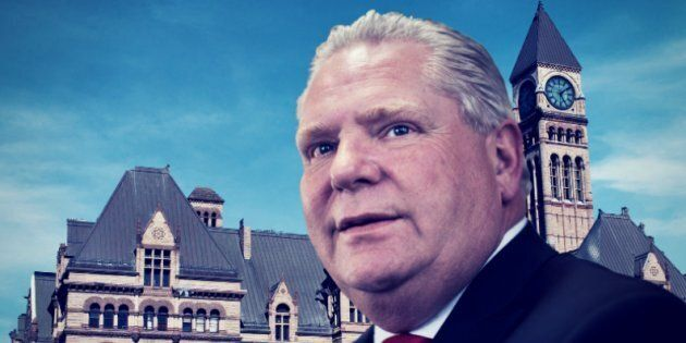 Premier Doug Ford is seen with Ontario Superior Court in a HuffPost Canada composite. The premier's government faces a laundry list of court cases after roughly two months in office.