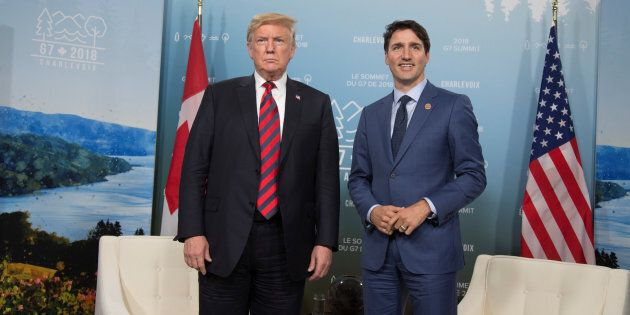 Prime Minister Justin Trudeau (right) meets with U.S. President Donald Trump during the G7 Summit in...
