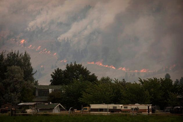 The Snowy Mountain wildfire, currently the largest in B.C., is visible from Cawston, B.C., about three...