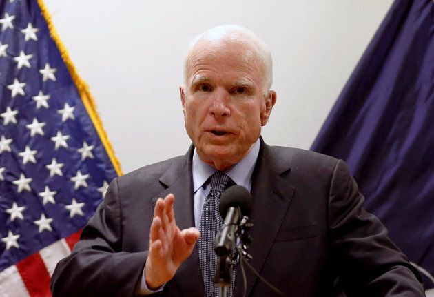 United States Senator John McCain speaks during a news conference in Kabul, Afghanistan, on July 4,