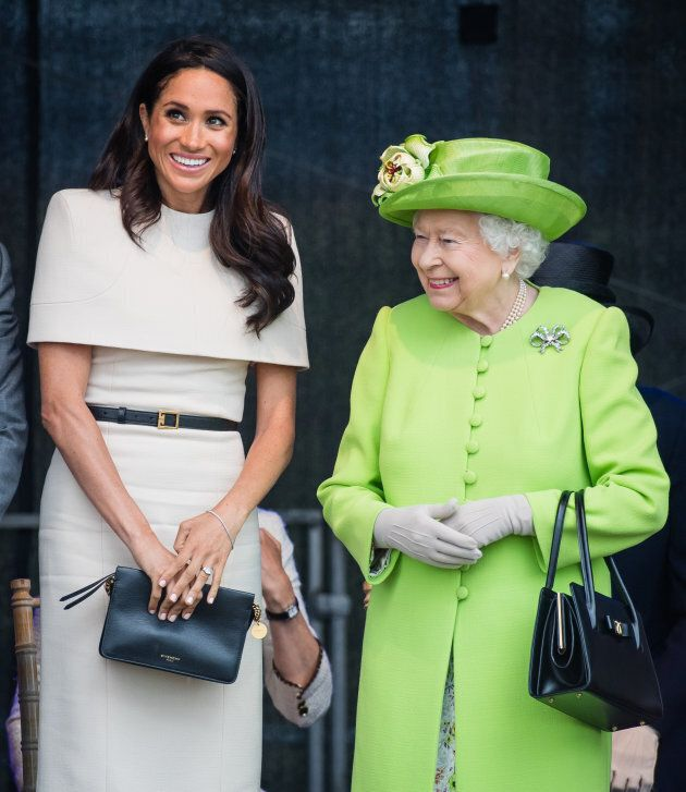 The Duchess of Sussex and the Queen at Mersey Gateway Bridge on June 14,