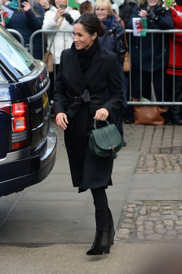 Meghan Markle on the grounds of Cardiff Castle in Jan. 18,