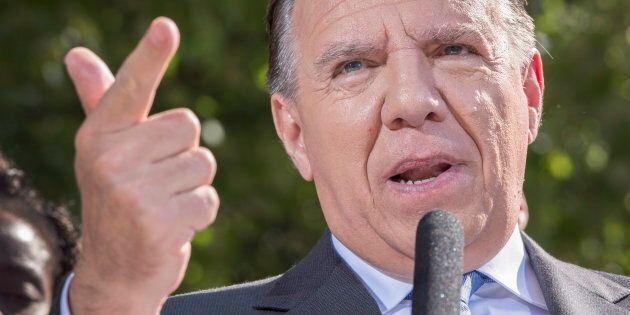Coalition Avenir du Quebec Leader Francois Legault speaks to the media while campaigning on Sept. 7,...