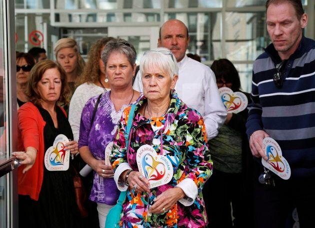 Family members of victims Lawrence Hong, Joshua Hunter, Kaiti Perras, Zackariah Rathwell and Jordan Segura...