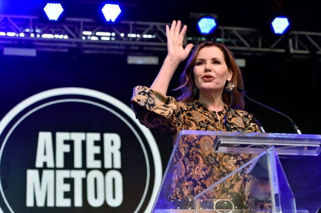 Actress Geena Davis addresses the crowd at the Share Her Journey Rally for Women in Film during the Toronto...