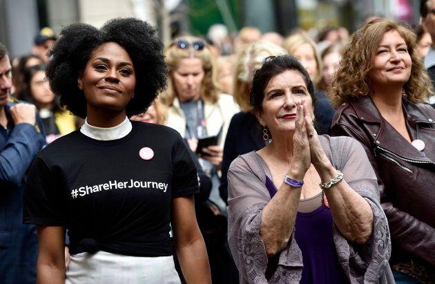 Actress Somkele Iyamah-Idhalama, left, and Nancy Puetz, vice president of Women in Film & Television...
