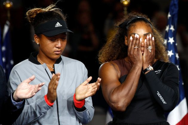 Serena Williams reacts while being interviewed after her defeat in the Women's Singles finals match to Naomi Osaka.