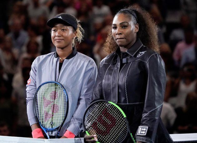 Serena Williams of the USA, right, and Naomi Osaka of Japan stand together at the net before the women's...
