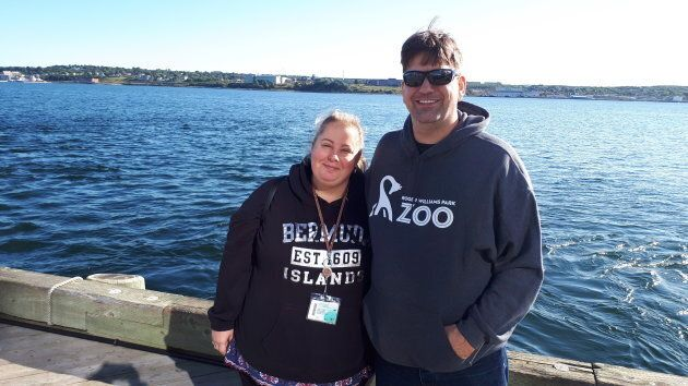 Christi Legare and her husband Daniel pose on the Halifax waterfront on
