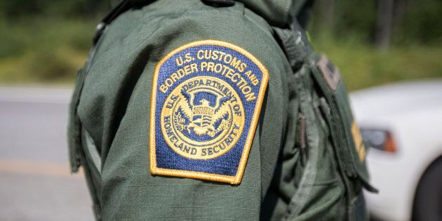 A patch on the uniform of a U.S. Border Patrol agent at a highway checkpoint on Aug. 1, 2018 is shown...