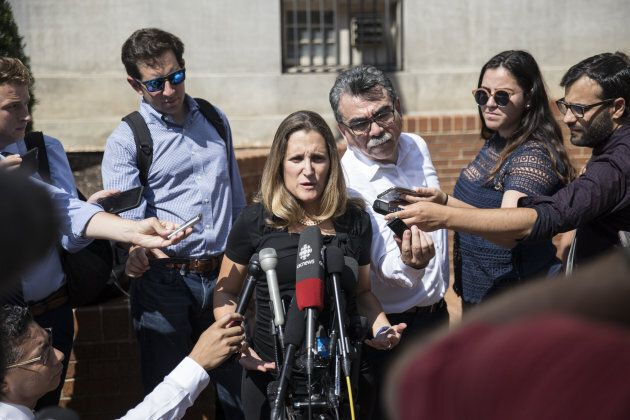 Foreign Affairs Minister Chrystia Freeland speaks to media outside the U.S. Trade Representative office...